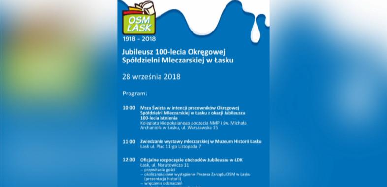 100-lecie Okręgowej Spółdzielni Mleczarskiej w Łasku  – ogłoszenie