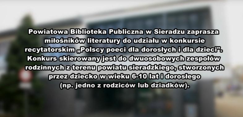 """Konkurs recytatorski """"Polscy poeci dla dorosłych i dla dzieci"""" – zaproszenie"""