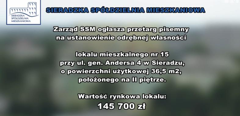 Ogłoszenie SSM – przetarg na mieszkanie przy ul. Andersa 4