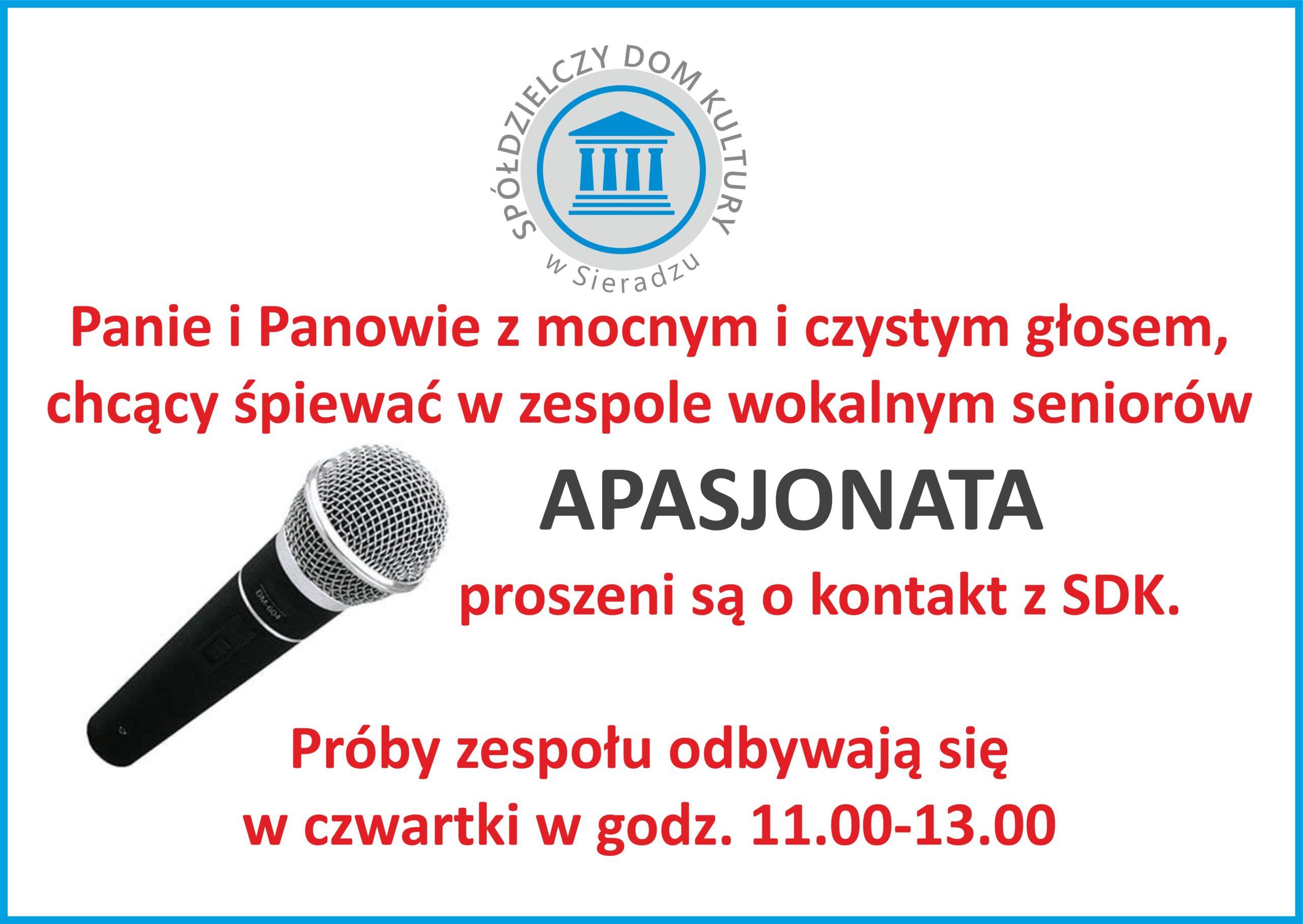 """Wokaliści do zespołu """"Apasjonata"""" poszukiwani! – ogłoszenie"""